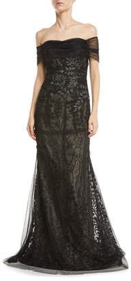 Rickie Freeman For Teri Jon Off-the-Shoulder Embroidered Tulle Gown