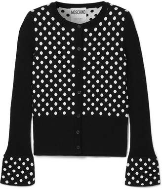 Moschino Polka-dot Wool Cardigan - Black