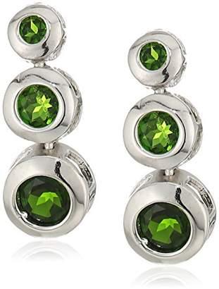 Sterling Silver Chrome Diopside Bezel Set Graduating Earrings