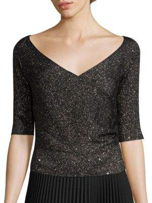 Lafayette 148 New York Sequin Off-The-Shoulder Wrap Sweater