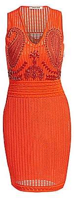 Roberto Cavalli Women's Crochet Embroidered Cocktail Sheath Dress