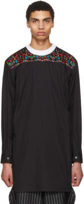 Comme des Garcons Black Embroidered Flower Long Shirt