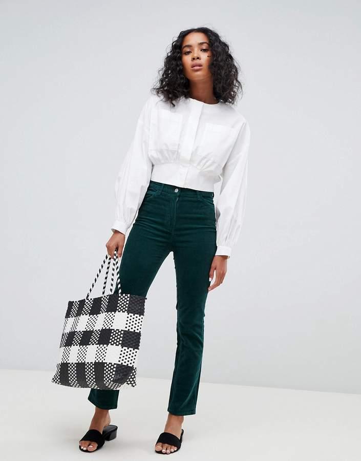 cord trousers in dark green