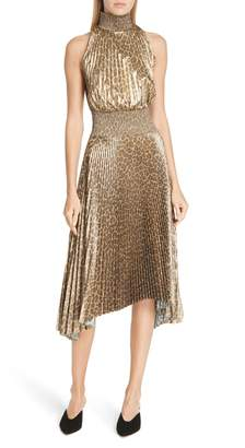 A.L.C. Renzo Leopard Print Metallic Foil Dress