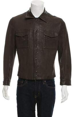 Giorgio Armani Button-Up Leather Jacket