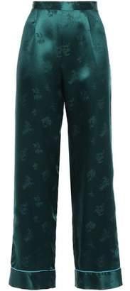 Anna Sui Silk-satin Jacquard Wide-leg Pants
