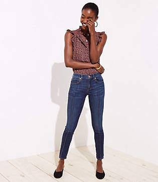 LOFT Modern Pintucked Skinny Jeans in Refined Dark Indigo Wash