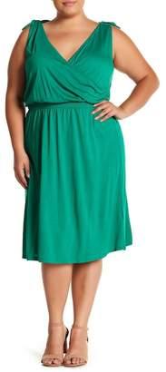 Joe Fresh Knotted Strap Surplice Dress (Plus Size)
