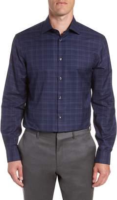 John Varvatos Windowpane Plaid Regular Fit Dress Shirt