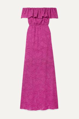 Rachel Zoe Clea Ruffled Off-the-shoulder Fil Coupé Silk And Cotton-blend Chiffon Maxi Dress - Fuchsia