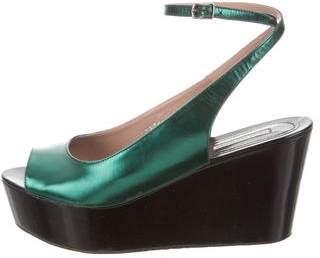 Dries Van Noten Leather Wedge Sandals