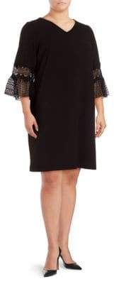 Vince Camuto Lace-Sleeve Solid Dress