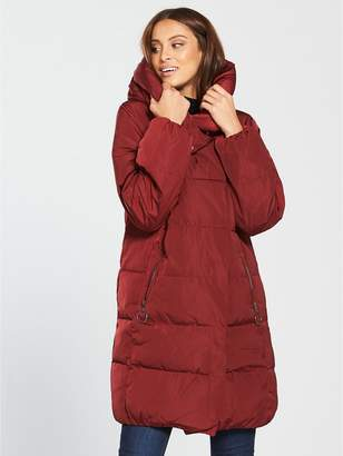 Warehouse Hooded Asymmetric Longline Padded Coat - Red
