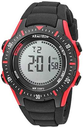 Armitron Sport Men's 40/8426RBK Red Accented Digital Chronograph Black Silicone Strap Watch