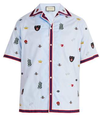 Gucci Motif Embroidered Bowling Shirt - Mens - Blue
