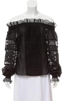 Andrew Gn Embroidered Ruffled Top