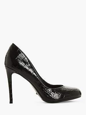 Dune Ava T Stiletto Heel Court Shoes, Black Patent
