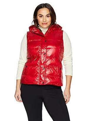 The Plus Project Women's Plus Size Quilted Puffer Down Vest with Hood 3X-Large