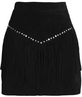 Maje Fringed Studded Suede Mini Skirt