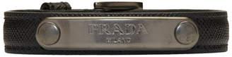 Prada Black and Gunmetal Saffiano Bracelet