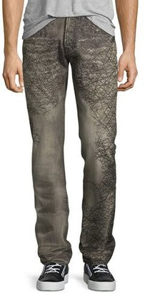 PRPS Demon Scribbled-Detail Relaxed-Slim Jeans, Gray $325 thestylecure.com