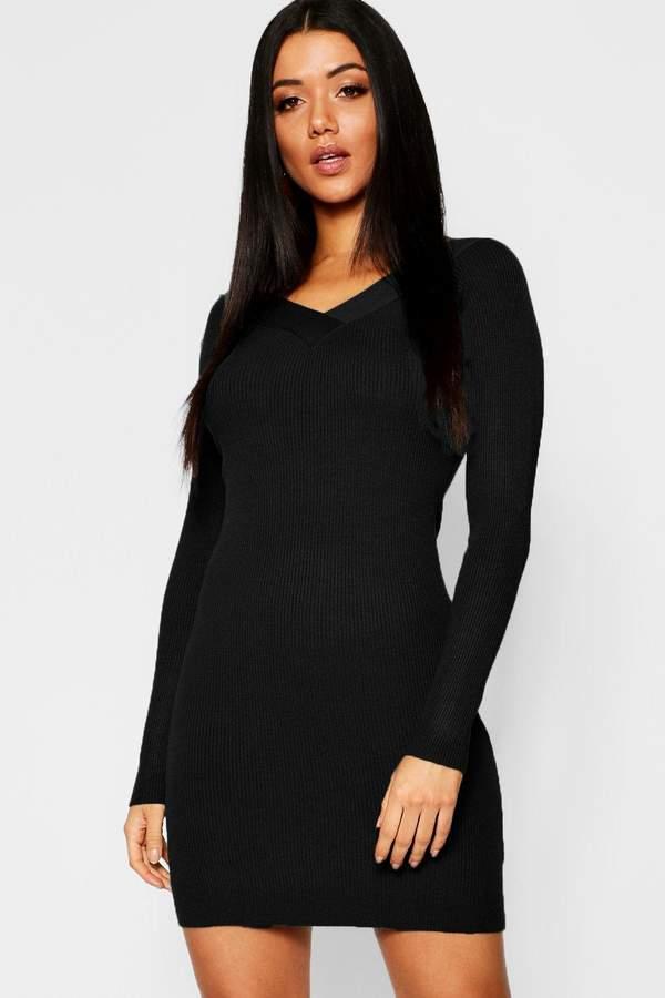 Skinny Rib V Front & Back Dress