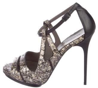 Balenciaga Metallic Python Sandals