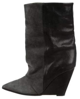 Isabel Marant Bicolor Wedge Mid-Calf Boots