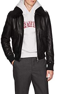 Ami Alexandre Mattiussi Men's G1 Shearling-Trimmed Leather Bomber Jacket - Black