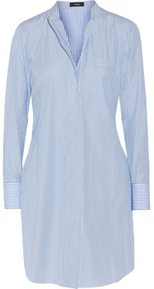 Theory - Jodalee Striped Cotton-poplin Shirt Dress - Blue $355 thestylecure.com