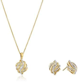 18k Yellow Gold over Sterling Silver Knot Earrings and Pendant Box Set (1/10 cttw)