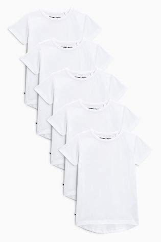 Boys White Short Sleeve T-Shirts Five Pack (3mths-6yrs) - White