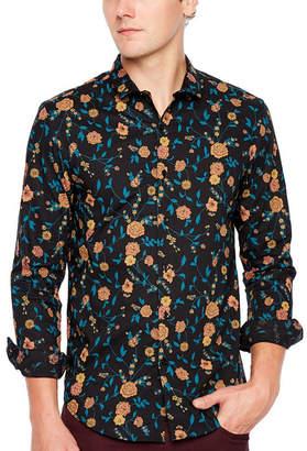 Jf J.Ferrar Mens Long Sleeve Pattern Button-Front Shirt