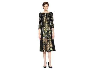 Marchesa 3/4 Sleeve Sequin Tea Length Cocktail with Velvet Trims