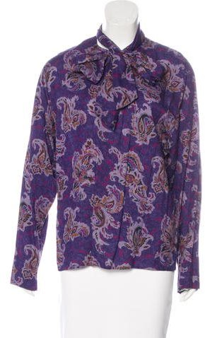 Christian Dior Paisley Print Long Sleeve Blouse