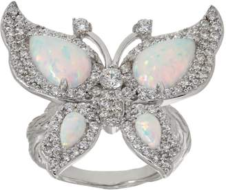 Diamonique and Synthetic Opal Butterfly Ring, Sterling