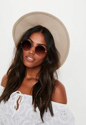 Missguided Gold Round Metal Frame Sunglasses