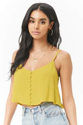 Forever 21 Crepe Button-Front Cropped Cami