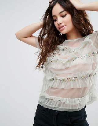 Asos Design T-Shirt In Mesh With Ruffles & Embellishment