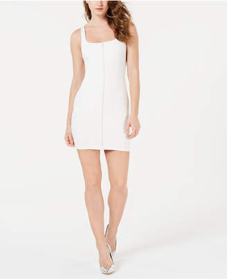 GUESS Mirage Embellished Zip-Front Bodycon Dress