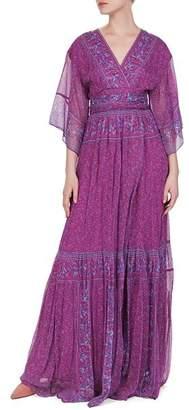 BA&SH Maya Botanical Faux-Wrap Maxi Dress