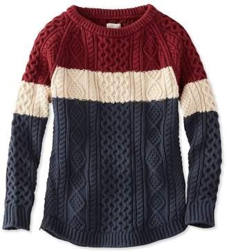 L.L. Bean L.L.Bean Signature Cotton Fisherman Tunic Sweater, Colorblock