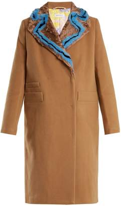 SAKS POTTS Double-breasted fur-trimmed wool coat