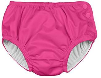 I Play Ultimate Snap Swim Nappy for Girls (6 Months, Newborn, Hot Pink Solid)