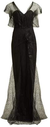 Roland Mouret Hiscot Polka Dot Tulle Gown - Womens - Black