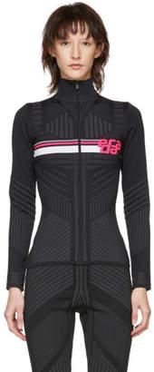 Prada Black and Pink Logo Zip-Up Cardigan