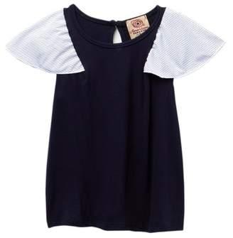 AMERICAN THREADS Woven Ruffle Sleeve Shirt (Little Girls)