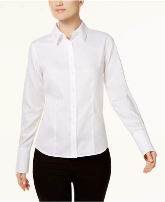 Calvin Klein Petite Cotton Button-Front Shirt