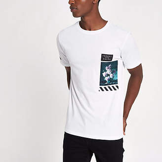 River Island White slim fit front floral print T-shirt