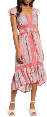 Lucky Brand Felice Border Print Cotton Blend Dress